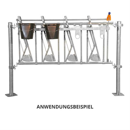 Eimerhalter für Kälber-Fressgitter 3 m / 6 Plätze