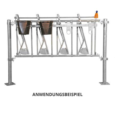 Eimerhalter für Kälber-Fressgitter 4 m / 10 Plätze