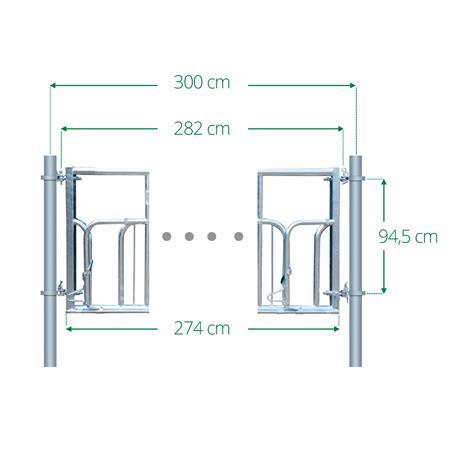 Schweden-Fressgitter mit Oberrohr 4  Plätze auf 3 m