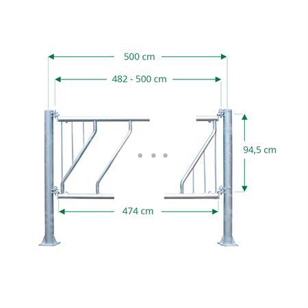 Schrägfressgitter für Jungtiere 12 Plätze auf 5 m