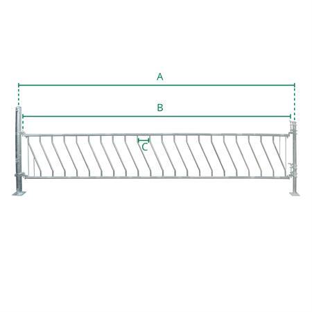 Schrägfressgitter für Kälber 20 Plätze auf 5 m