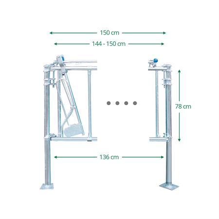 Sicherheits-Selbstfangfressgitter für Kälber 3 Plätze auf 1,5 m