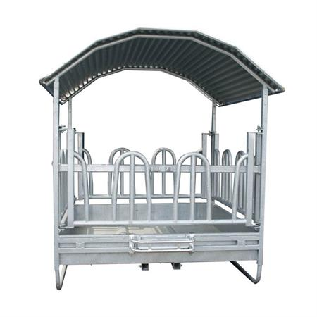 Viereckraufe mit Palisadenfressgitter 2 x 2 m - 12 Fressplätze