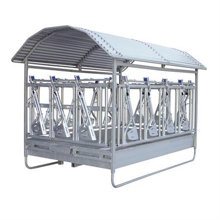 Großballenraufe mit Sicherheits-Selbstfangfressgitter 2 x 3 m - 14 Fressplätze