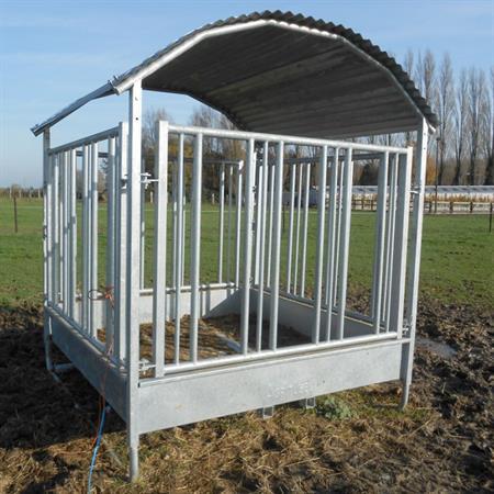 Viereckraufe mit Sicherheitsfressgitter für Pferde 2 x 2 m - 12 Plätze