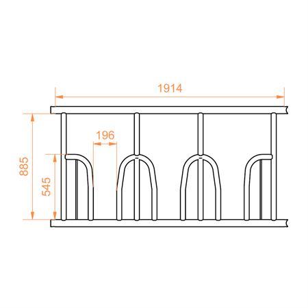Viereckraufe mit Palisadenfressgitter mit Oberrohr 2 x 2 m - 12 Fressplätze