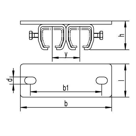 Doppeldeckenmuffe Nr. 402 D - 60 mm für 400er Schiene