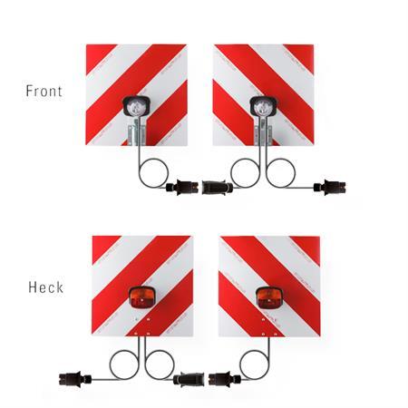 Warntafelsatz Front und Heck mit Beleuchtung 423 x 423 mm