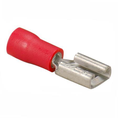 Flachsteckhülse rot Ø 6,3 mm / 0,5 - 1,5 mm² / 25 Stück