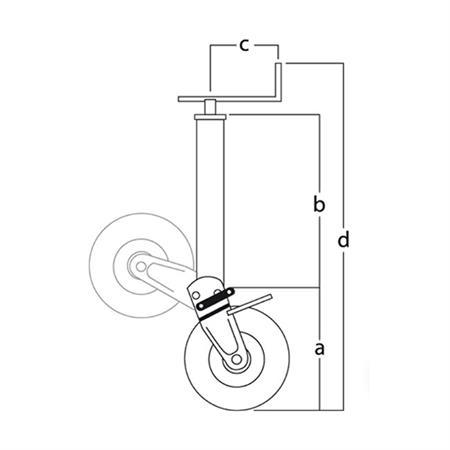 Stützrad mit Stahlrohr 1500 kg / 310 x 90 mm