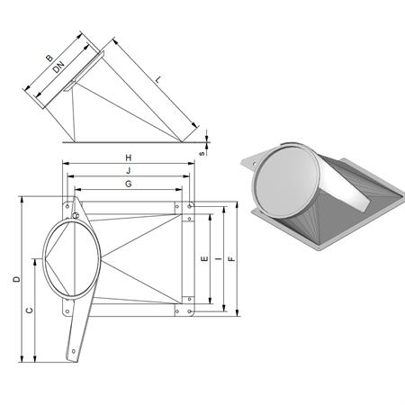 Auslauf 45° mit Schieber Ø 150 mm