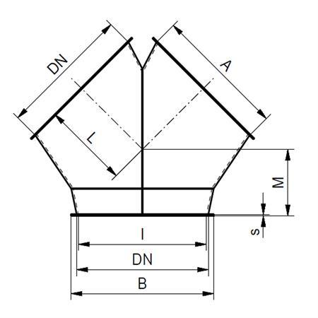 Gabelstück 2 x 45° - Ø 150 mm
