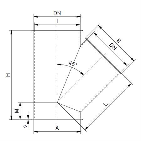 Gabelstück 1 x 45° - Ø 200 mm