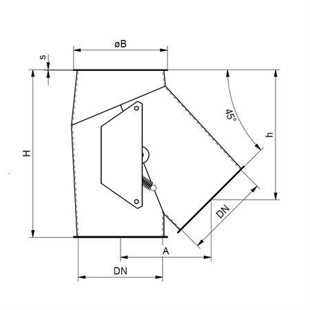 Klappkasten 1 x 45° - Ø 150 mm