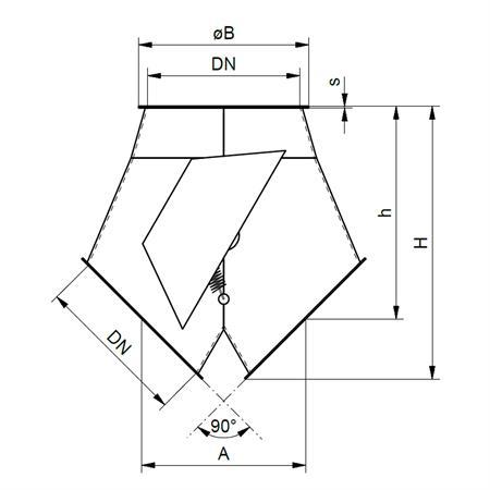Klappkasten 2 x 45° - Ø 200 mm