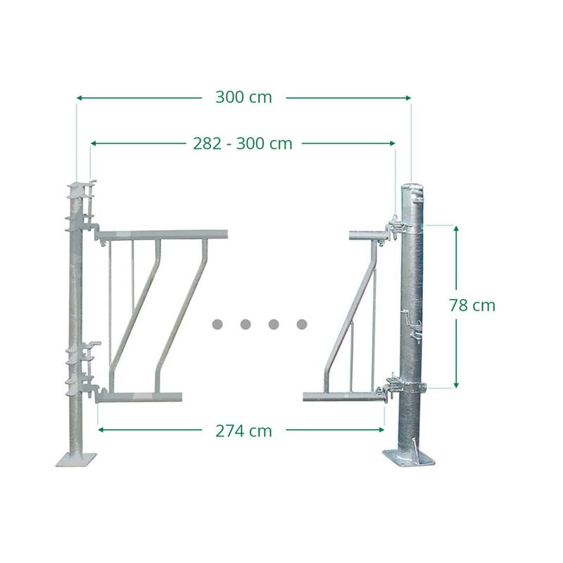Schrägfressgitter für Kälber 11 Plätze auf 3 m